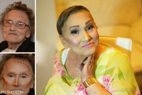 معجزه باورنکردنی آرایش روی چهره پیرزن 80 ساله