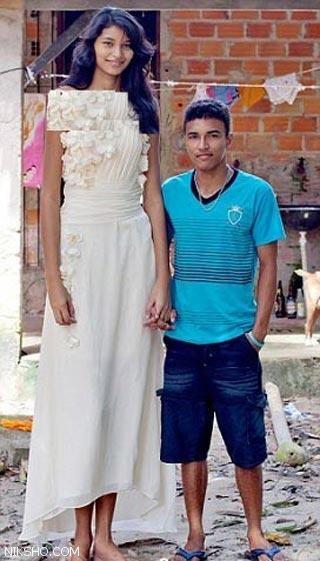 دختر زیبای 18 ساله قدبلندترین عروس جهان +عکس