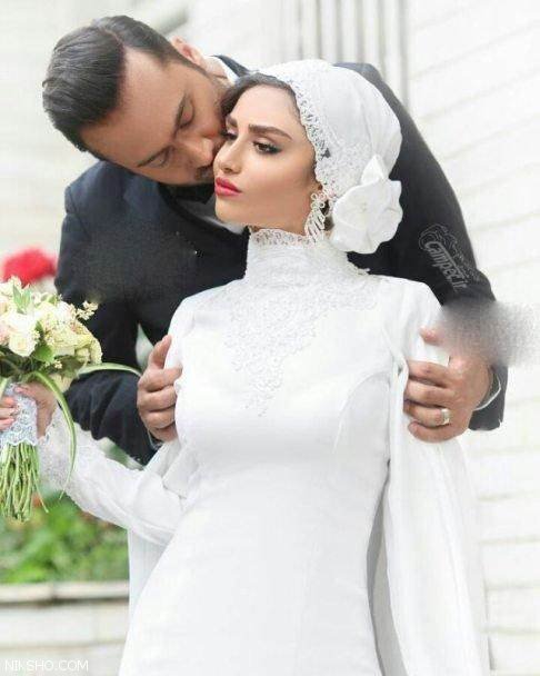 بوسه هانیه غلامی و همسرش در روز عروسی +عکس