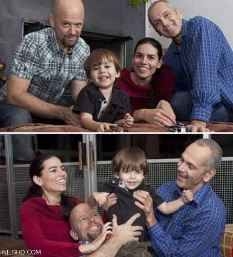 زندگی یک زن با دوشوهر و یک بچه در یک خانه +عکس