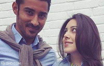 بوسه عاشقانه رضا قوچان نژاد و همسرش سروین بیات +عکس