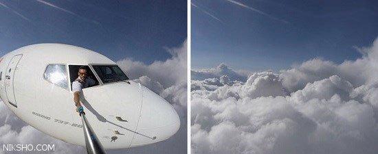 سلفی های بسیار خطرناک این خلبان هنگام پرواز +عکس