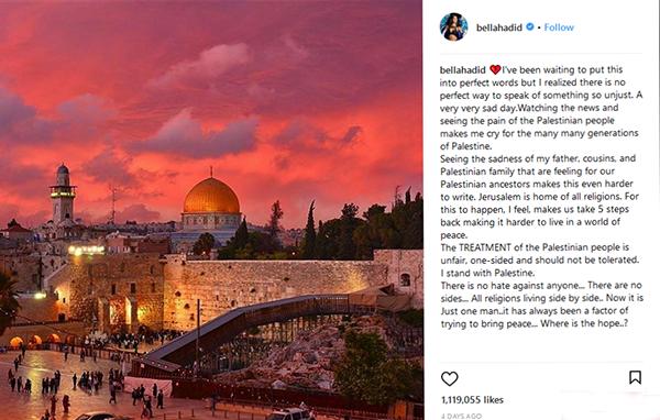 گریه بلا حدید سوپر مدل مشهور به خاطر فلسطین
