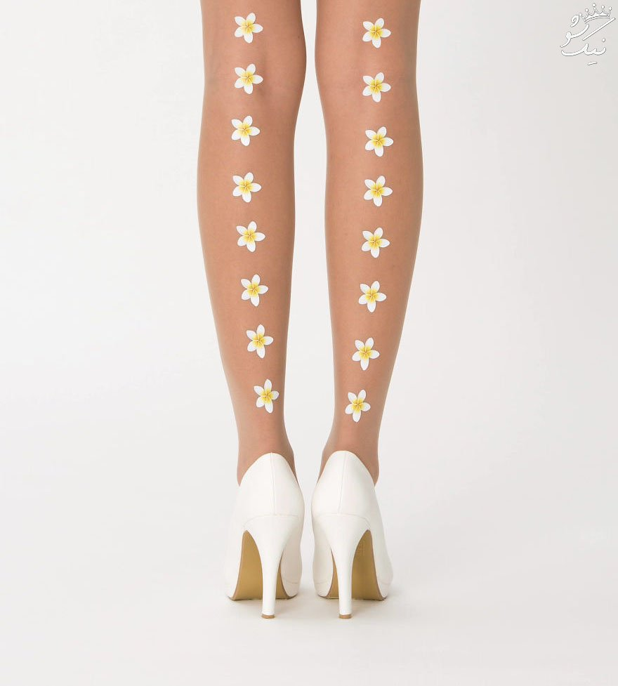 جوراب نازک زنانه رنگ پا با طرح های فوق العاده زیبا