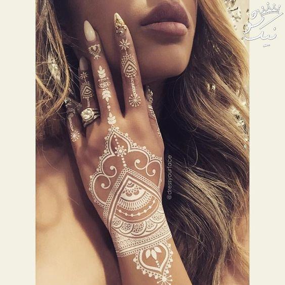 تتو روی ران طرح های حنا هندی روی دست و پا و بدن دختران