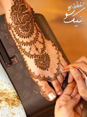 طرح های حنا هندی روی دست و پا و بدن دختران