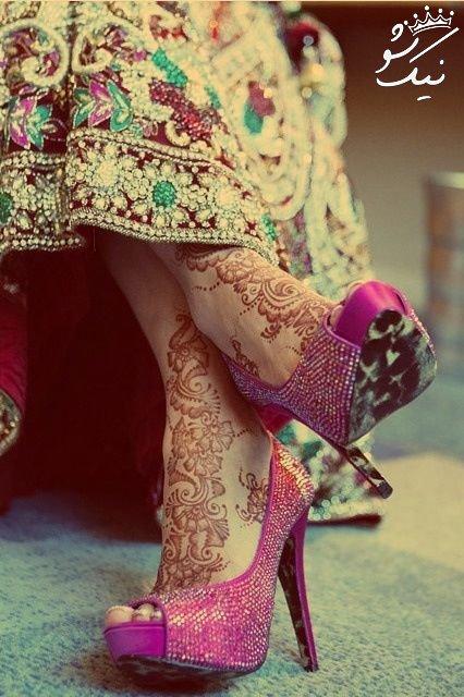 مدل خالکوبی پشت گردن طرح های حنا هندی روی دست و پا و بدن دختران