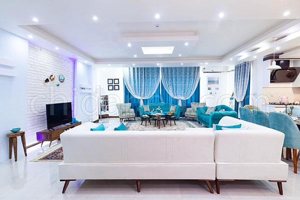 دکوراسیون آبی و سفید خانه امیر و زهرا در باغستان کرج