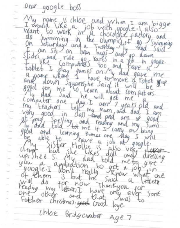 نامه استخدام جنجالی دختر 7 ساله به شرکت گوگل