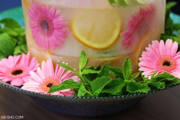 آموزش تزیین یخ با گل و میوه برای کدبانوها