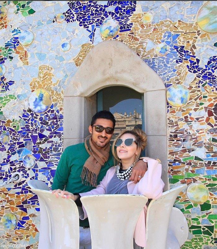 خوش گذرانی رضا قوچان نژاد و همسرش در اسپانیا