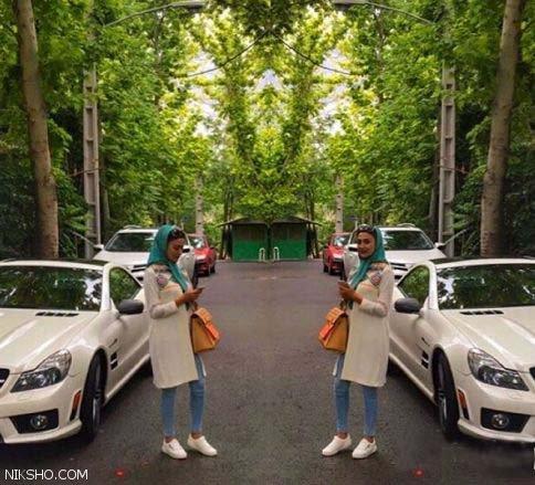 خانم بازیگر معروف در کنار ماشین لاکچری و گران قیمتش
