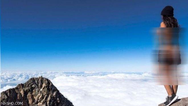 عکس های برهنه دختر مدل روی قله کوه مقدس جنجالی شد