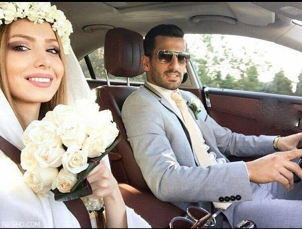ماشین عروس لوکس فوتبالیست مشهور و همسرش