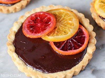 آموزش تهیه دسر تارت شکلات و پرتقال خوش طعم