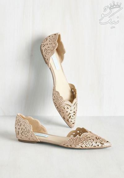 شیک ترین مدل های کفش عروس بدون پاشنه