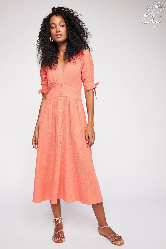 مدل لباس زنانه به رنگ مرجانی مد سال 2019