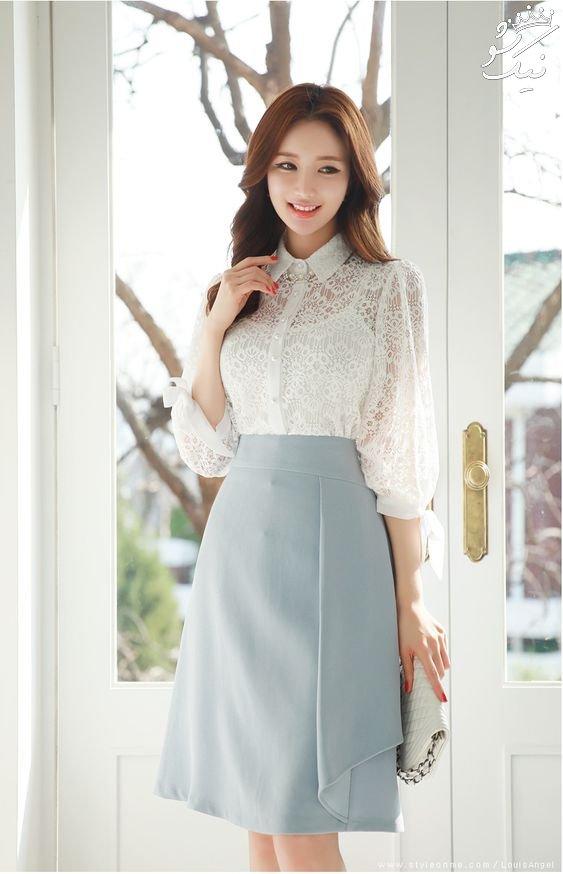 مدل شومیز حریر دخترانه کره ای | ست شومیز و دامن 2021
