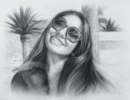 نقاشی دخترانه زیبا و جذاب ، طراحی ساده سیاه قلم
